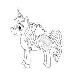 Fairy foal with wings coloring book page for vector