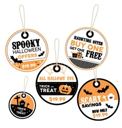 Halloween themed retail labels vector