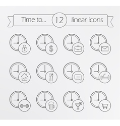Time management linear icons set vector