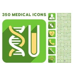 Genetic analysis icon and medical longshadow icon vector