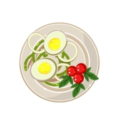 Breakfast with cherry tomatoes and boiled eggs vector