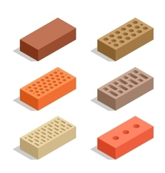 Bricks isolated on white Brick icon set Flat 3d vector image vector image