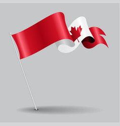 Canadian pin wavy flag vector