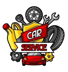 Car repair concept with service objects and items vector