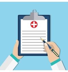 Clipboard in doctors hand vector