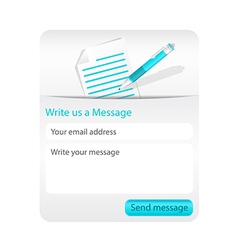 Contact form with light paper and blue ballpoint vector image