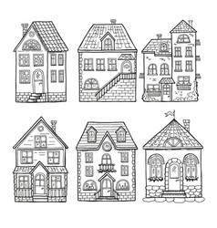 cute little houses and different roofs doodle vector image vector image