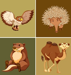 Different types of wild animal on brown background vector