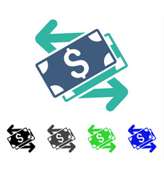 Dollar banknotes exchange flat icon vector