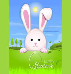 Easter bunny in the background beautiful spring vector