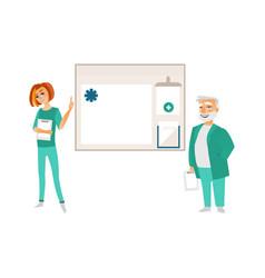 flat doctor nurse information board vector image vector image
