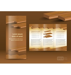 Flooring plank brochure design template folder vector
