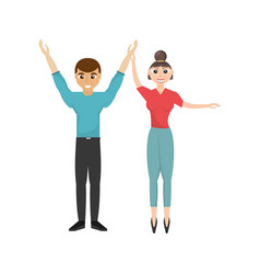 fun couple happy dance vector image vector image
