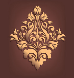 Gold damask volumetric ornamental element elegant vector