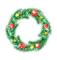 Green christmas tree wreath with Christmas vector image