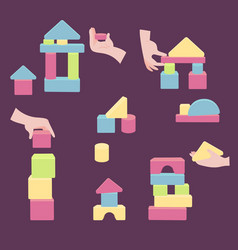 Hands with bricks for coordination wood tower toy vector