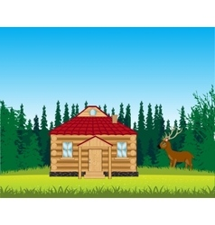 House on glade with flower vector