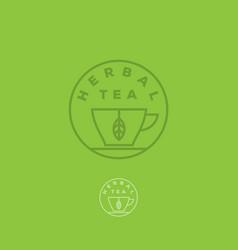 logo herbal tea cup leaf vector image