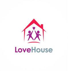 Love house couple logo vector