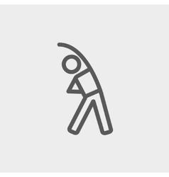 Man do strretching thin line icon vector