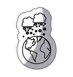 Monochrome sticker contour with cumulus of clouds vector