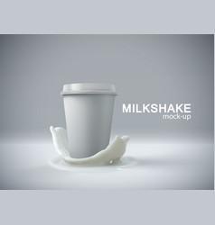 paper milkshake cup with milk crown splash vector image vector image