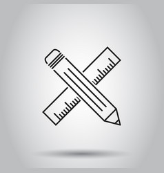 Pencil with ruler icon on isolated background vector
