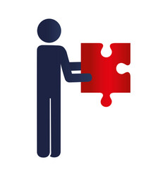 person with puzzle game pieces isolated icon vector image