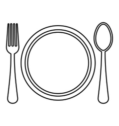 Plate spoon and fork icon outline style vector