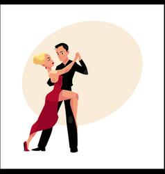 professional ballroom dancers dancing tango vector image