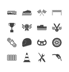 Racing sport black icons set vector
