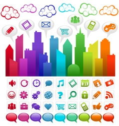 rainbow social media city vector image