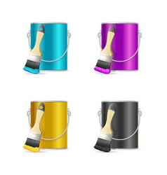 realistic color steel can bucket and paint brush vector image vector image