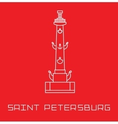 Saint-petersburg rostral column line art vector