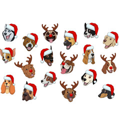 Set of dogs for christmas vector