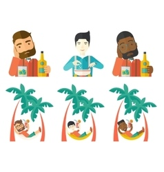 set of people eating and drinking vector image