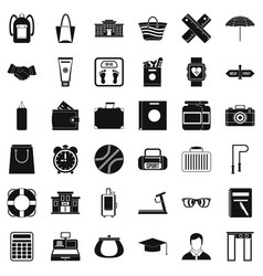 Sport bag icons set simple style vector