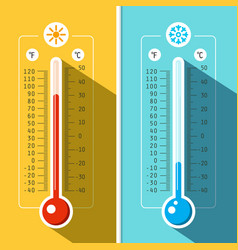 Thermometer icons temperature measurement vector