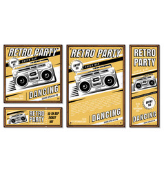vintage banner retro party vector image vector image