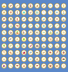 100 construction icons set cartoon vector image