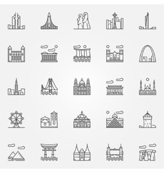 Travel landmarks icons set vector
