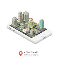 Mobile maps isometric design vector
