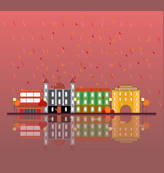 Autumn urban city landscape concept vector