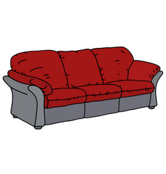 Red and gray sofa vector