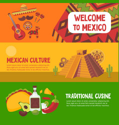 Colorful mexico horizontal banners vector