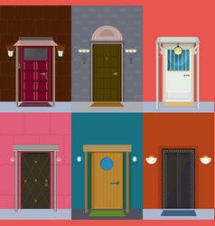 Colorful detailed entry doors collection vector