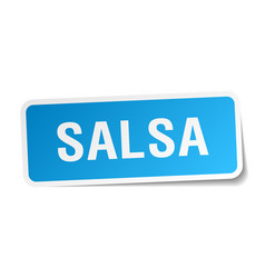 Salsa blue square sticker isolated on white vector