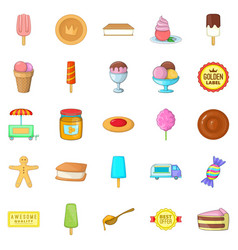 sweet icons set cartoon style vector image