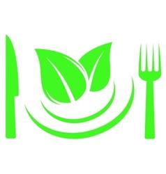 knife fork and leaf on plate vector image