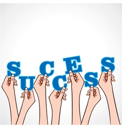 Success word in hand vector